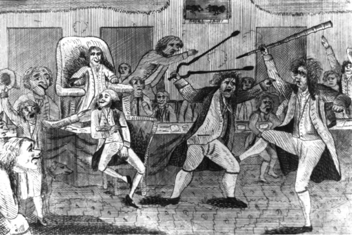 Cartoon depiction of Lyon-Griswold violence in the U.S. Congress.  Lyon on the left yielding fire tongs and Griswold on the right brandishing a cane.