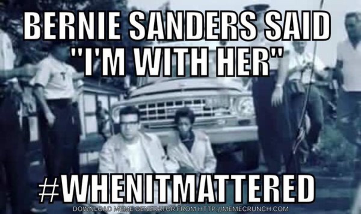 Sanders supporter campaign sign.