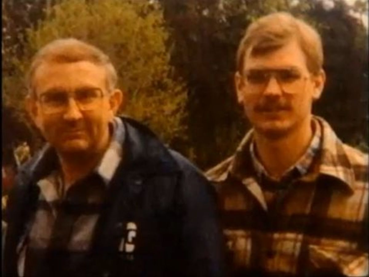 Jeffrey Dahmer (right) and his father.  Jeffrey's father stood by him until the end.