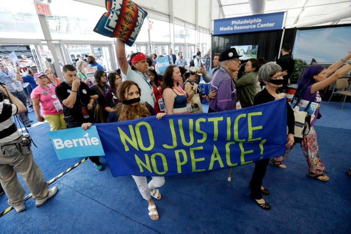 Bernie or Bust supporters at the Democratic National Convention.