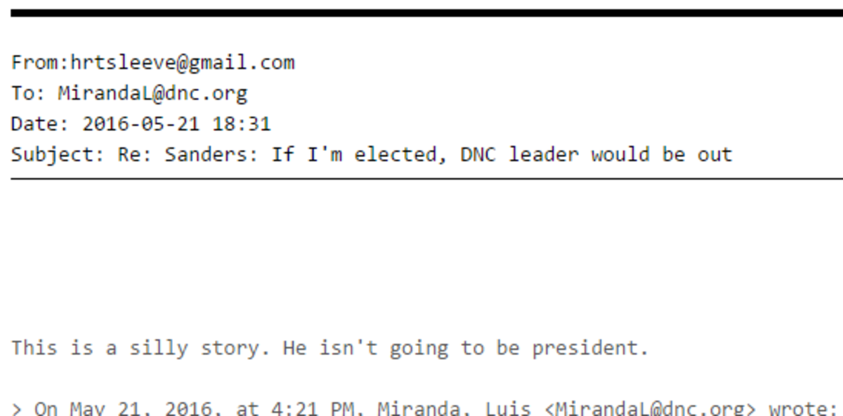Email from DNC Chairwoman Debbie Wasserman-Schultz to DNC Communications Director Luis Miranda