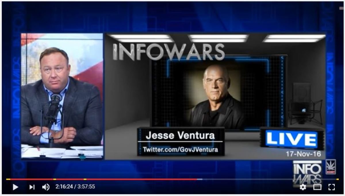 Infowars' Alex Jones Meltdown Continues, as He Gets Slammed by Jesse Ventura for Trump Support