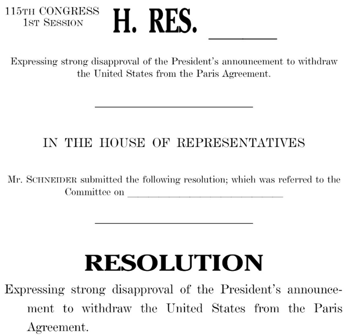 Image of house bill objecting to USA withdrawal from Paris Agreement.