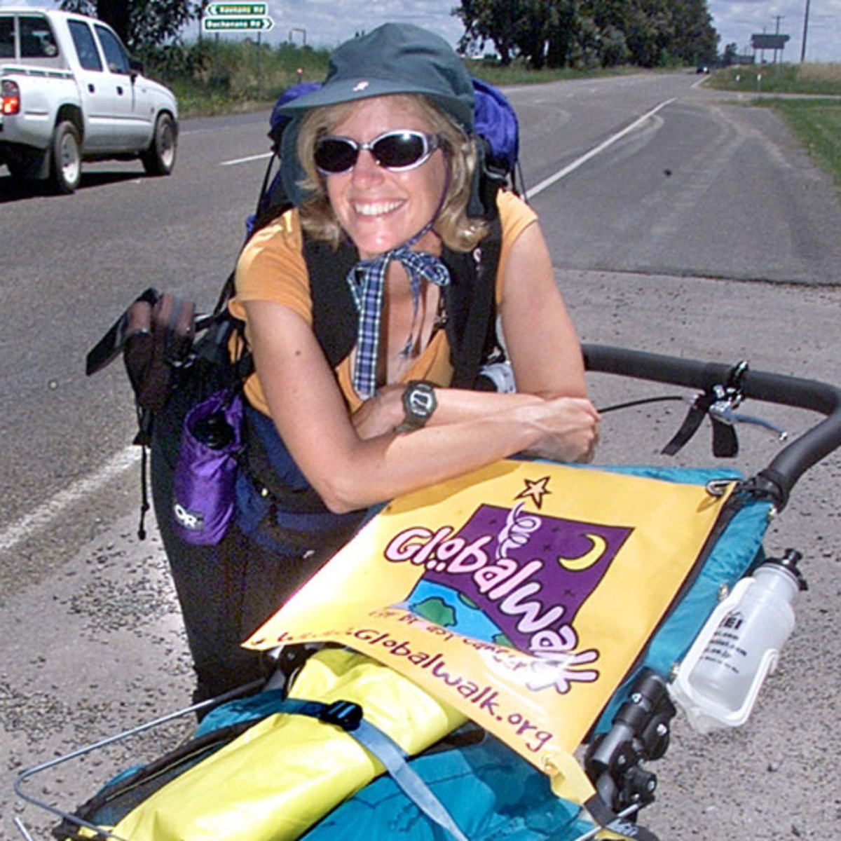 Polly Leftosky with altered running stroller