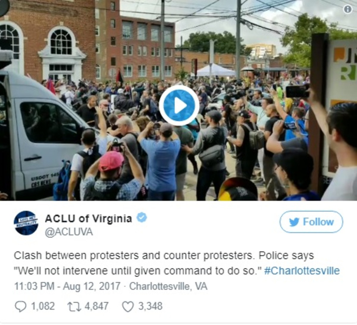 ACLU Tweet from Charlottesville