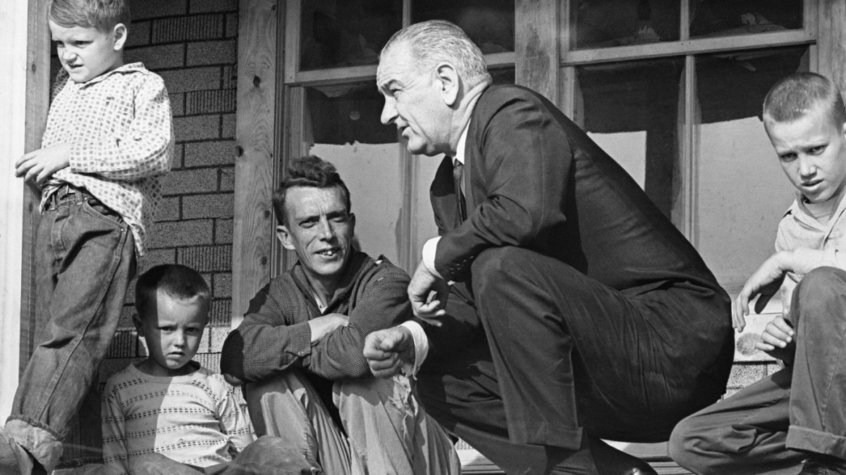 President Johnson visits the poverty-stricken state of Kentucky in the 1960s.