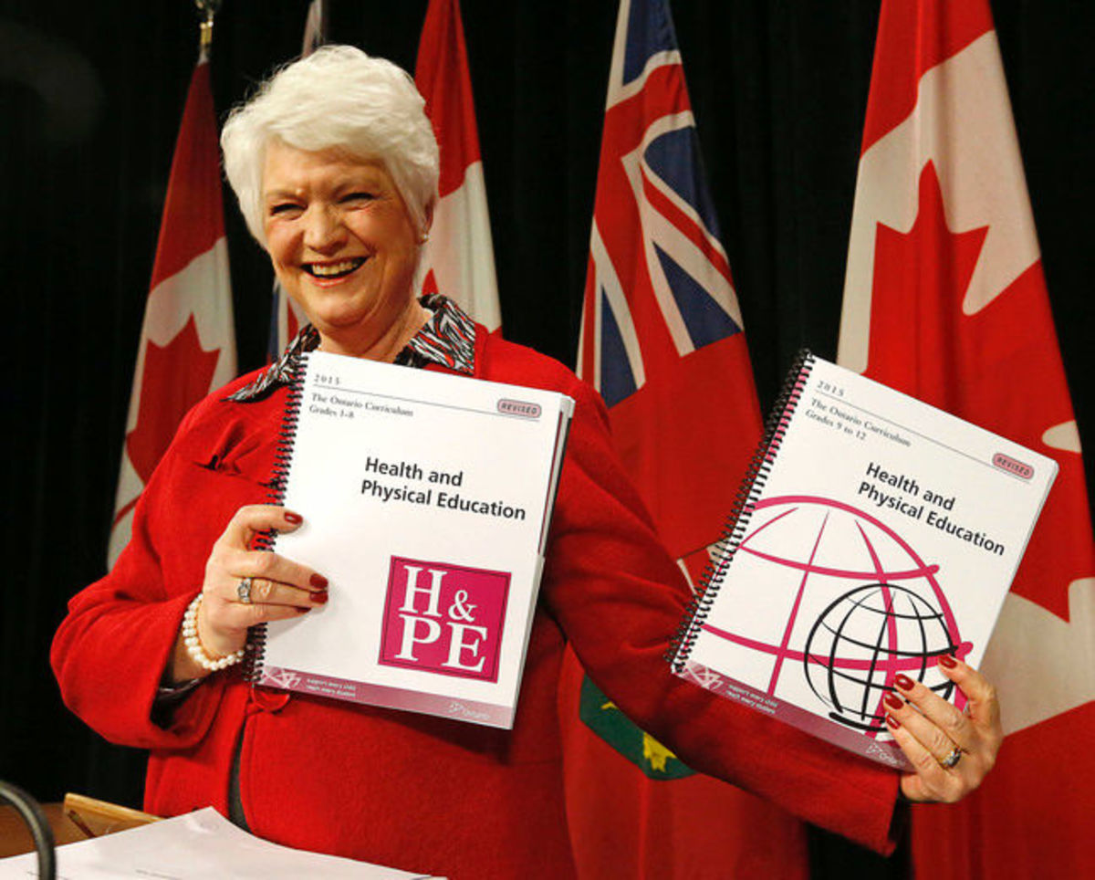 Then-Education minister Liz Sandals unveils the new health curriculum in 2015.