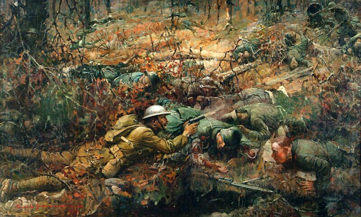 """The painting """"Sargent Alvin C. York"""" (1919) by Frank Shoonover.  Most people recognize that a man like Alvin York (1887-1964) was an American patriot, yet wasn't a nationalist or a fascist."""