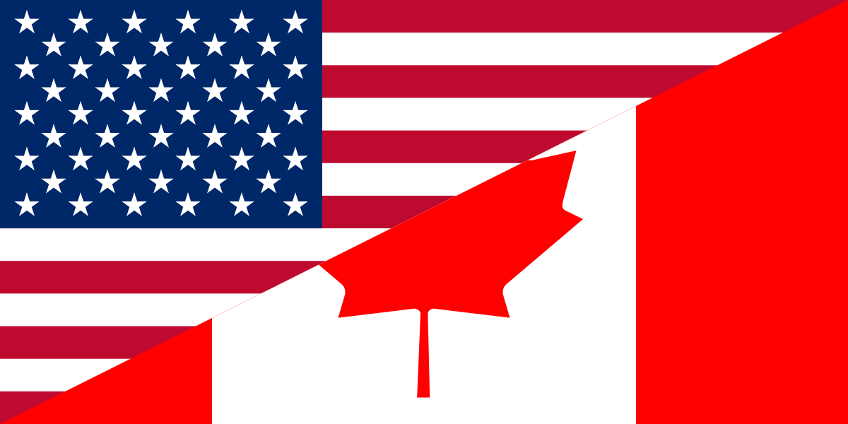 The United States and Canadian flags.
