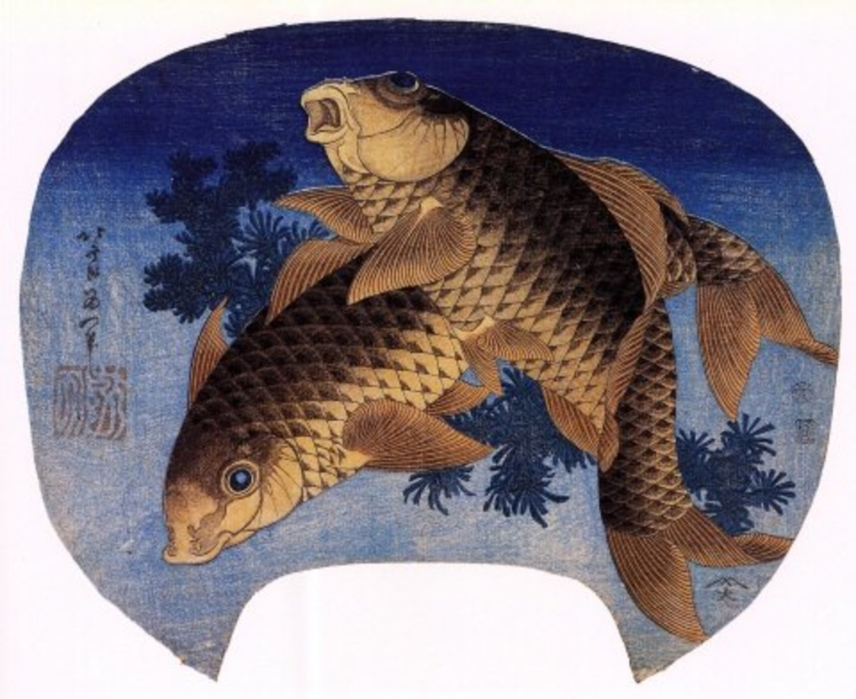 """Two Carp"" fan painting by Japanese artist Katsushika Hokusai (1760-1849)."