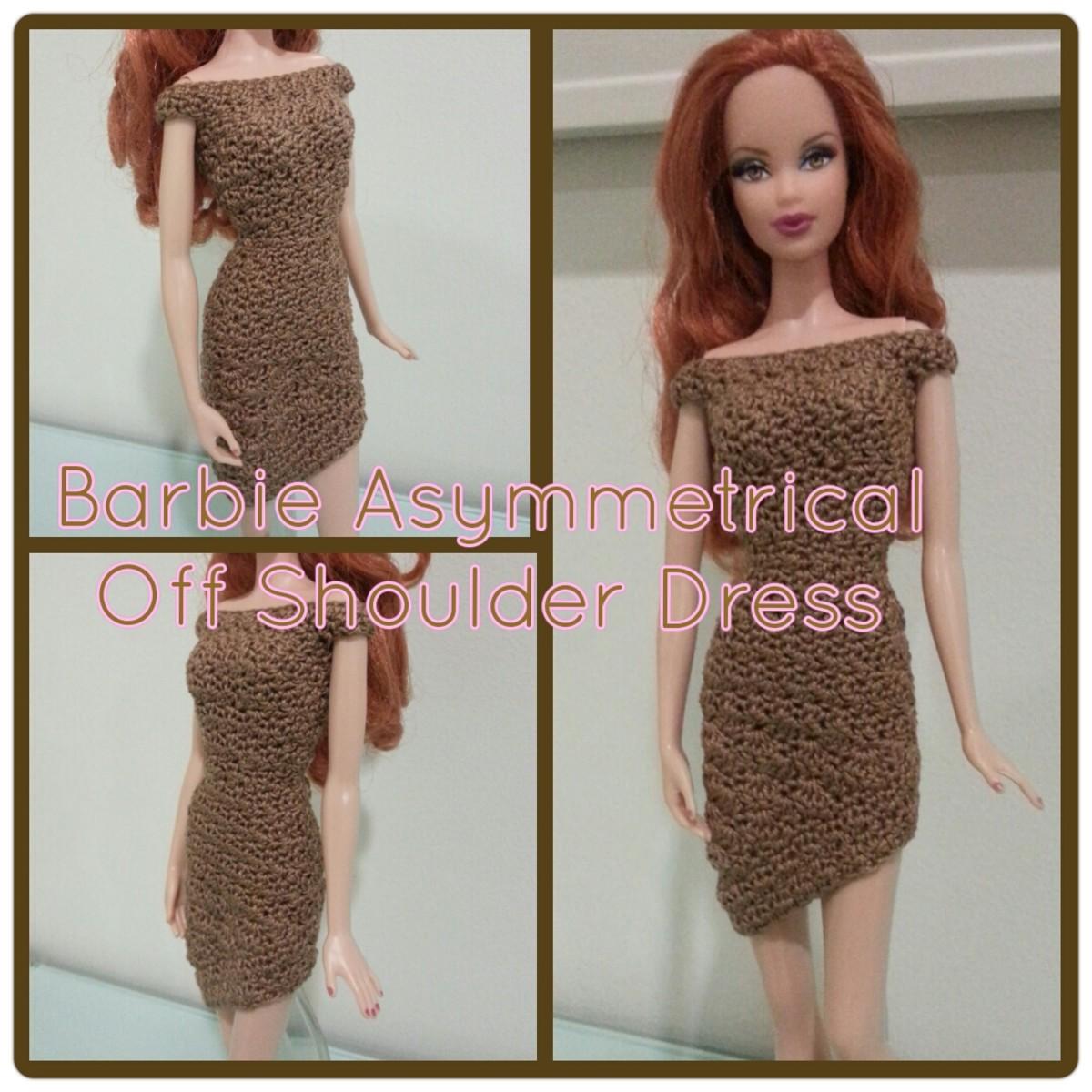 Barbie Asymmetrical Off Shoulder Dress