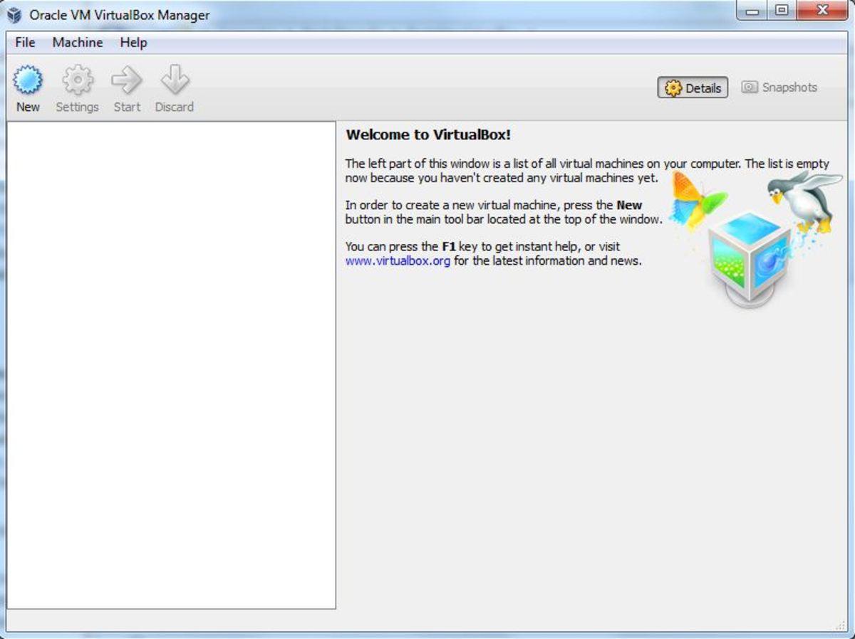 The VirtualBox Manager window