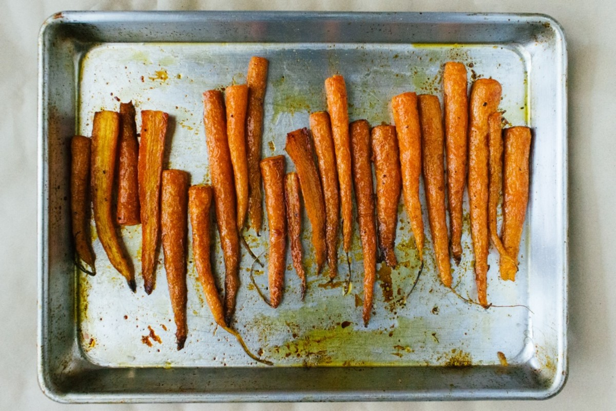 A tray of oven-roasted carrots.