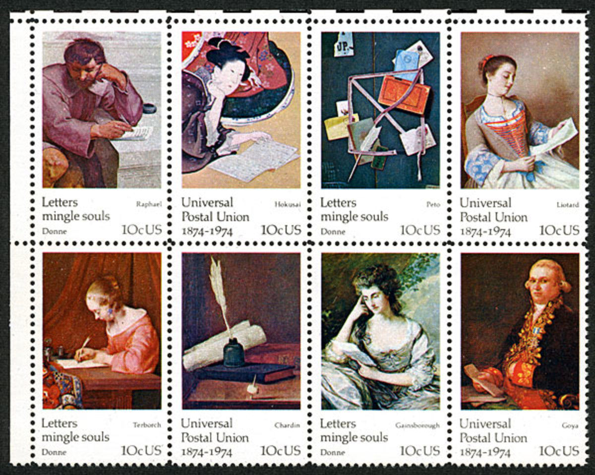 Famous Works of Art on U.S. Stamps: 1974 Universal Postal Union Commemoratives