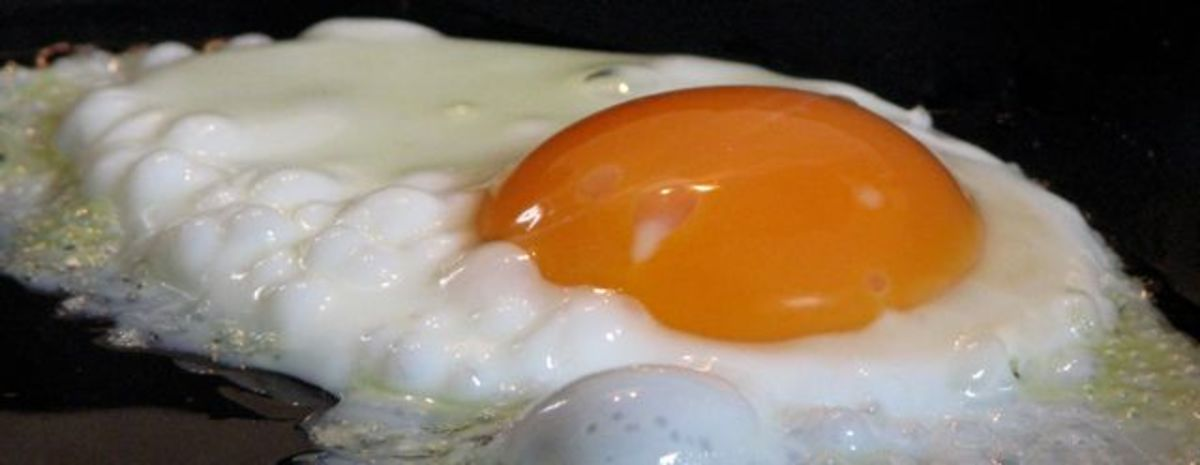 Sunny-side up, undercooked egg.