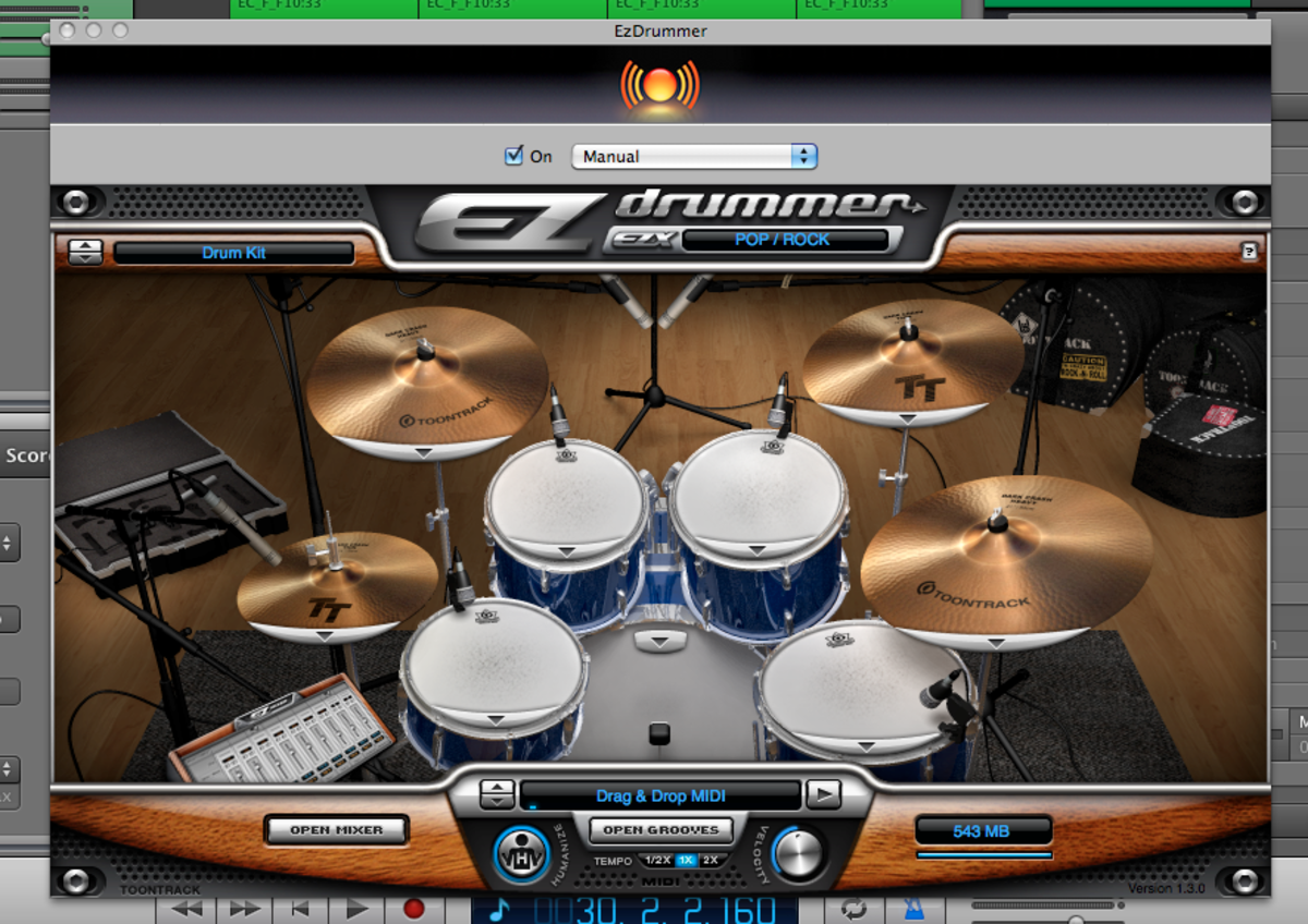 EZ Drummer User Interface in Garageband