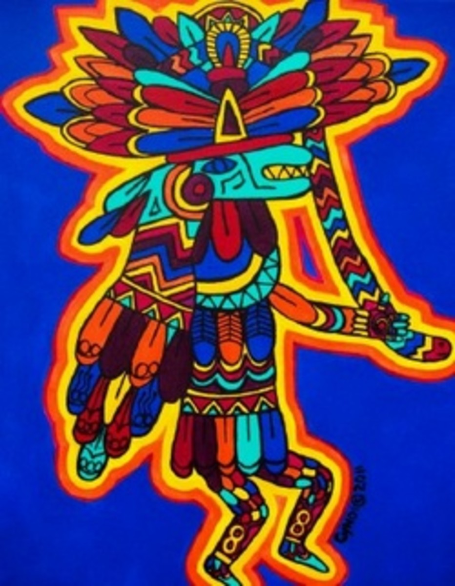 This is my rendition of Quetzalcoatl that I completed in 2011.  I have since sold this painting, but I had started painting a series of the various gods in the Aztec pantheon.