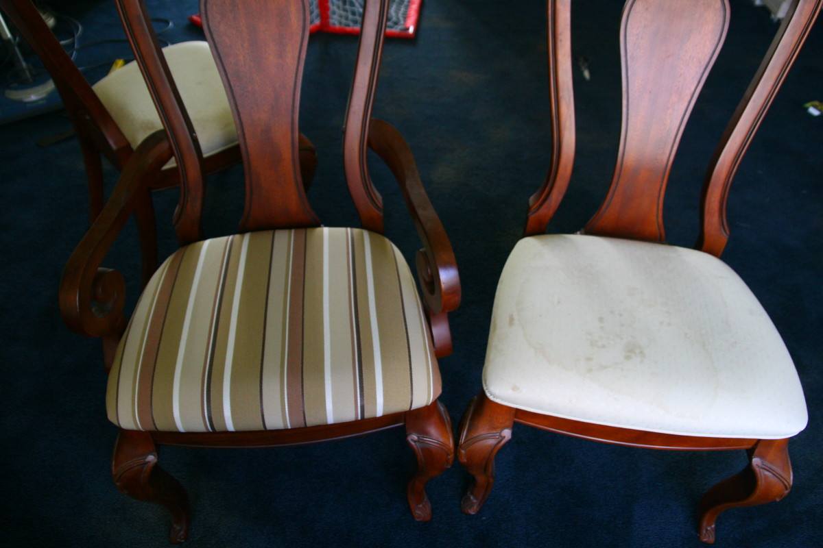 Give old, stained chairs a spiffy new look with new upholstery fabric. Reupholstering chairs is an easy DIY project anyone can do!