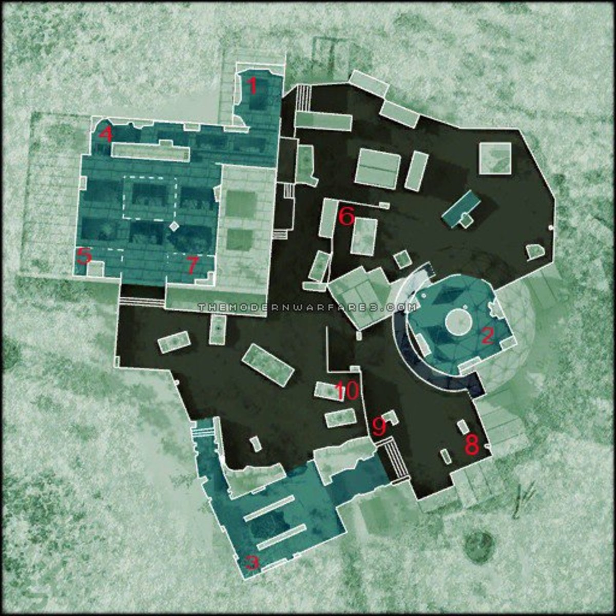 A layout of some great camping spots on the Modern Warfare 3 map dome. Disclaimer: I do not own the rights to this image. Visit the site of the original image via. http://www.themodernwarfare3.com/mw3/multiplayer-maps/dome/