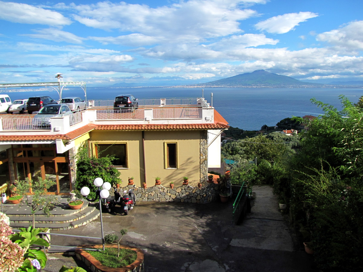 Il Nido, located in the Hills above Sorrento.  Fantastic view and great breakfast.  That's Mt. Vesuvius out there.  Paid 90 euro per night.