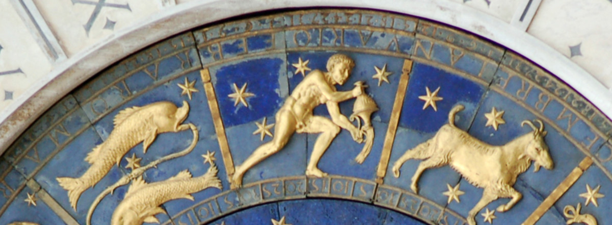 Aquarius the Water Bearer on St Mark's Clock, San Marco, Venice