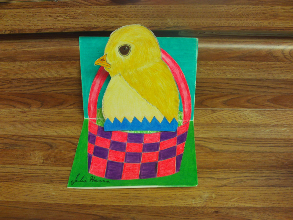 My baby chick pop up card that I designed for Easter.