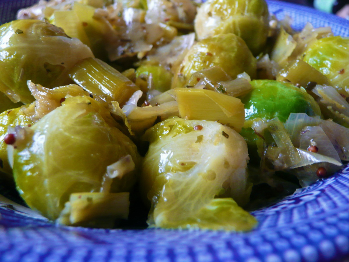 Zesty Brussel Sprouts with Caramelized Leeks and Mustard