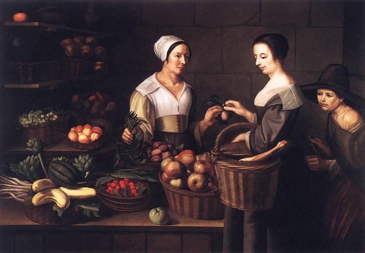 A painting from the 17th Century depicts a pickpocket stealthily robbing a woman in a market.