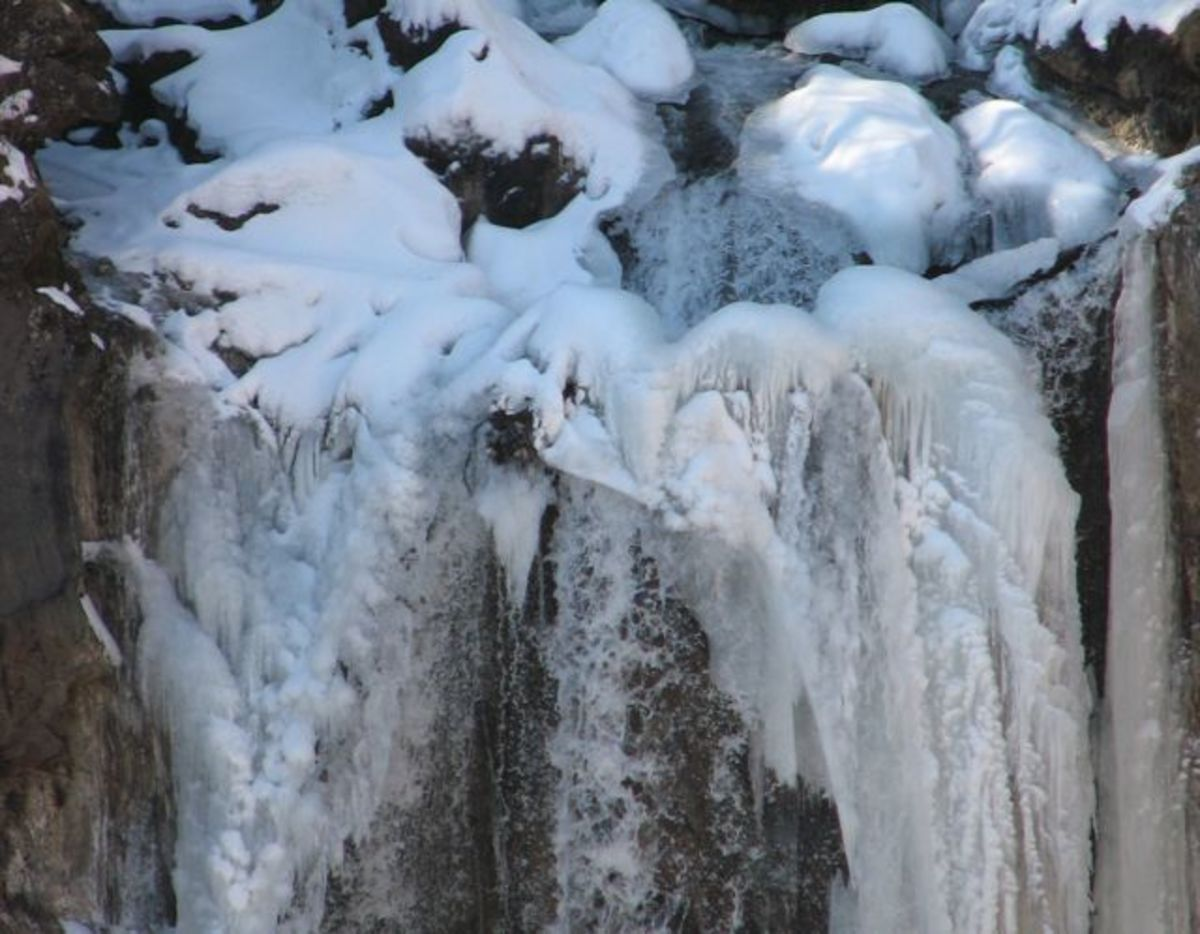 A small section of Kegon falls in winter.