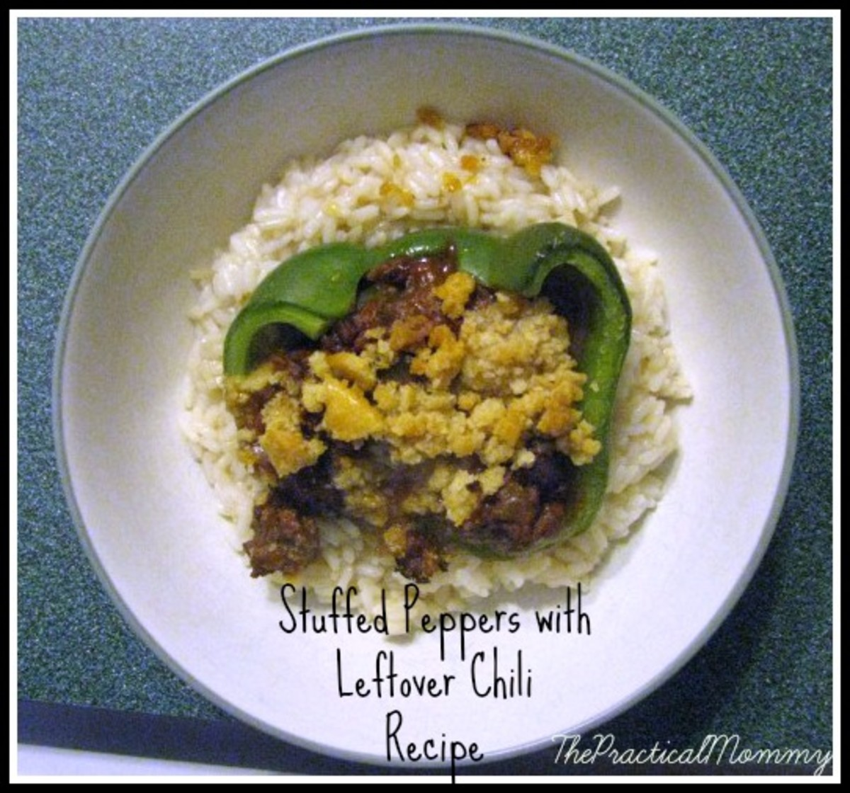 Recipe for chili-stuffed green peppers over rice.