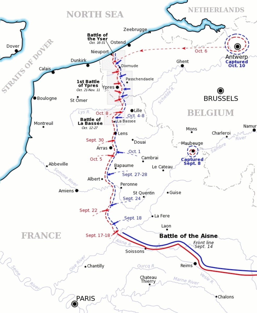 "WW1: Map showing the course of the ""Race to the Sea"" in1914 after the Battle of the Aisne. Allied front line and movement is shown in red, German front line and movement shown in blue. Three of the battles that occurred during or after the ""race"