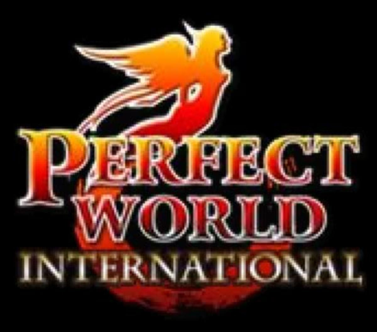 "The logo for ""Perfect World International,"" an MMORPG."