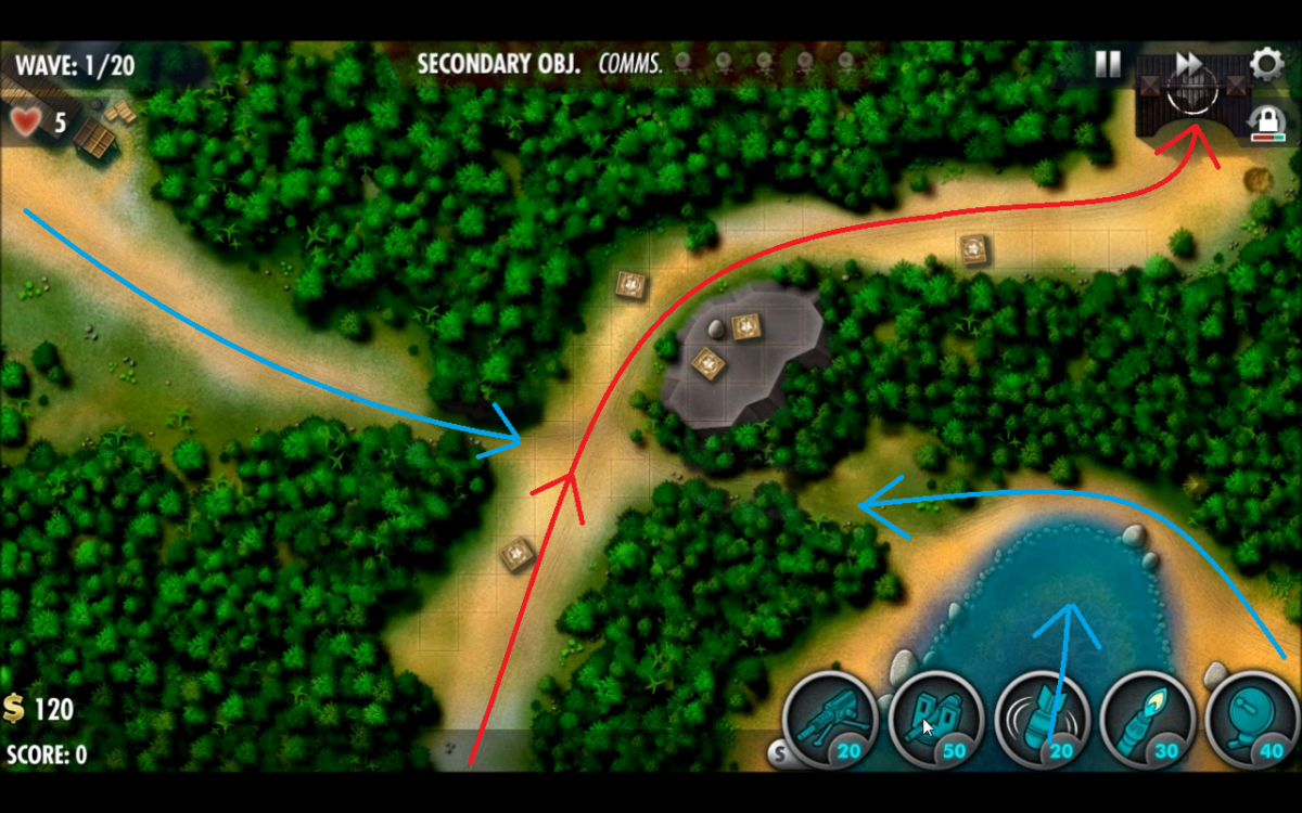 Attacking path of enemy units drawn in red with secret attack routs drawn with blue arrows in Edsons Ridge.
