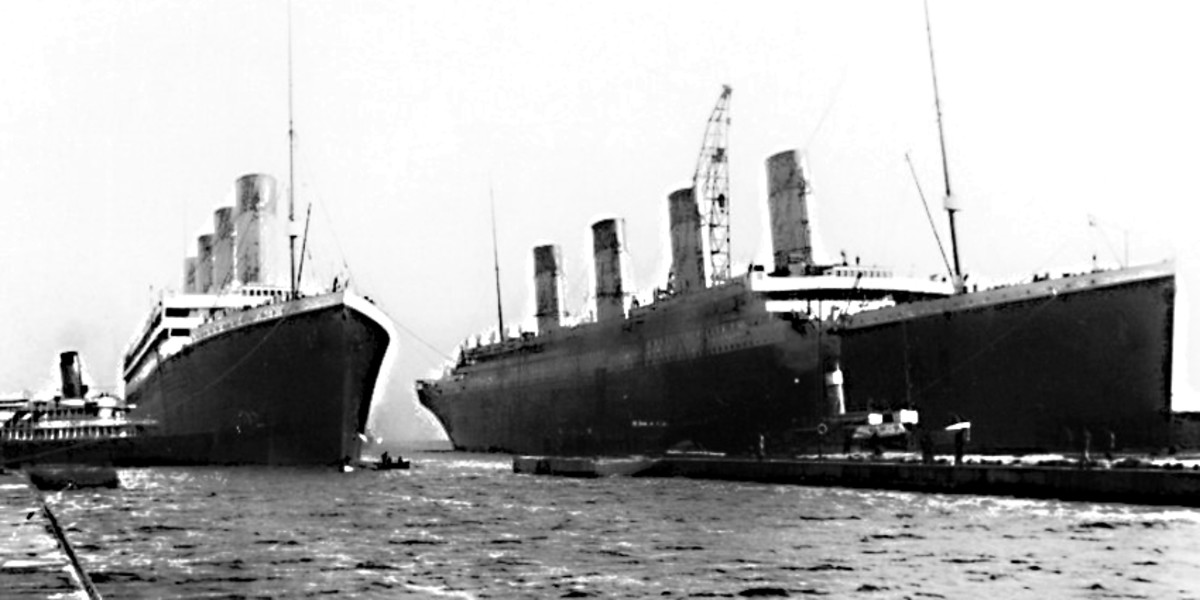 In this picture taken on 6th March 1912, Titanic (on the right) rests alongside sister ship Olympic, which was launched in October 1910. A third sister ship, The Britannic, would launch in 1914.