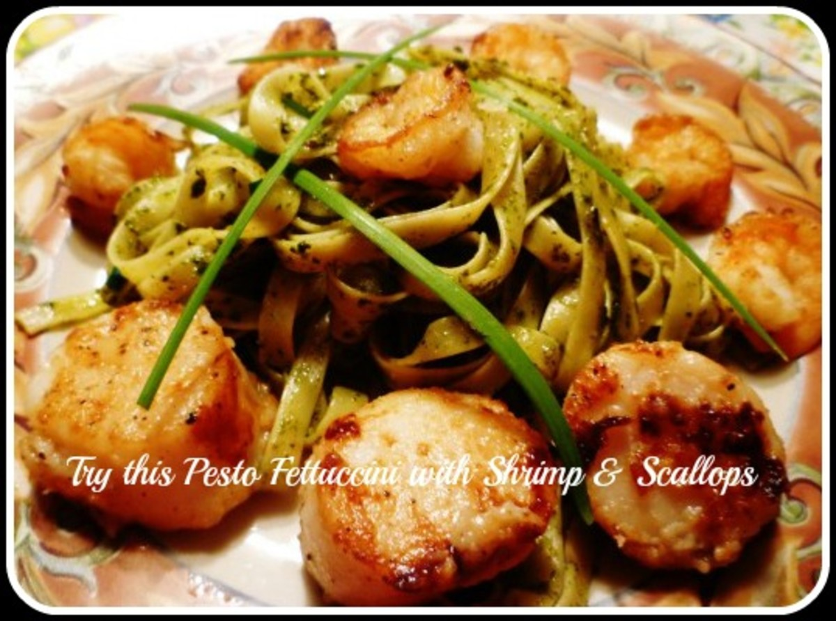 Shrimp, scallops and fettuccini with pesto sauce