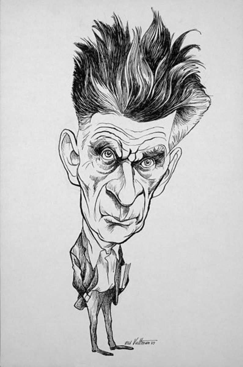 Samuel Beckett caricature.