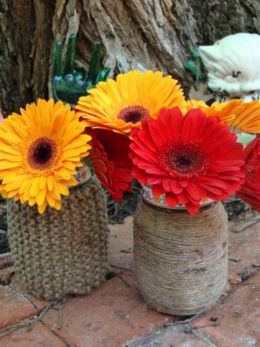 Mason Jar and Twine Vases