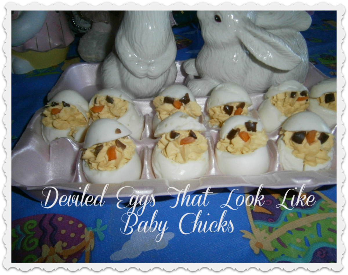 Learn how to make deviled eggs that look like baby chicks peeking out of their eggshells.
