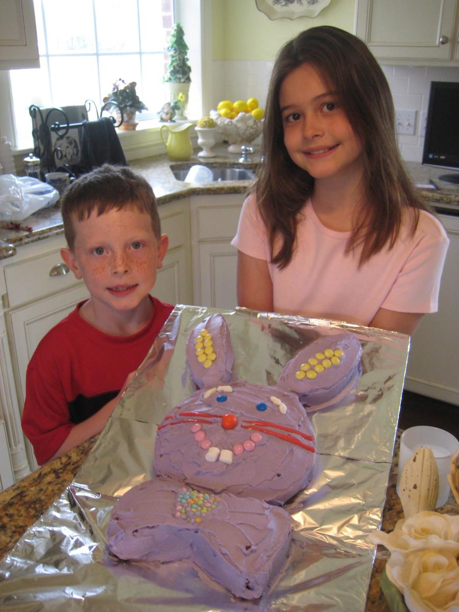 Easter 2009. This year we made our Easter Bunny lavender. Mini marshmallows looked really cute as big, buck teeth. I can't believe how much my kids have changed in a few short years!