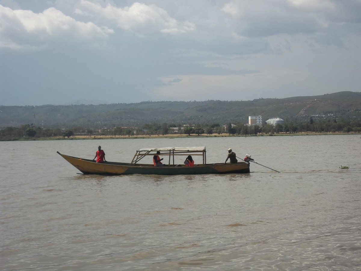 A boat for domestic tourists on Lake Victoria