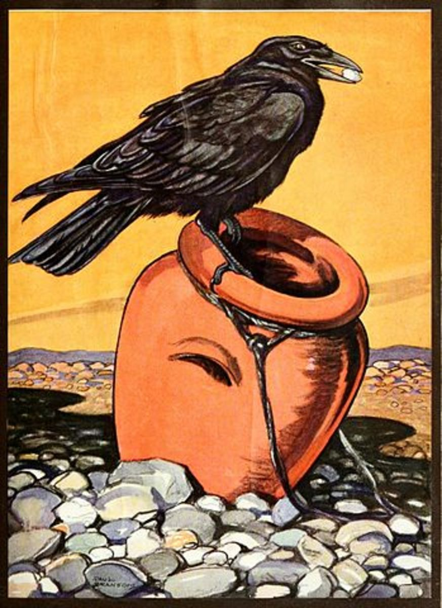 "An illustration of a crow from the 1921 book ""An Argosy of Fables""."