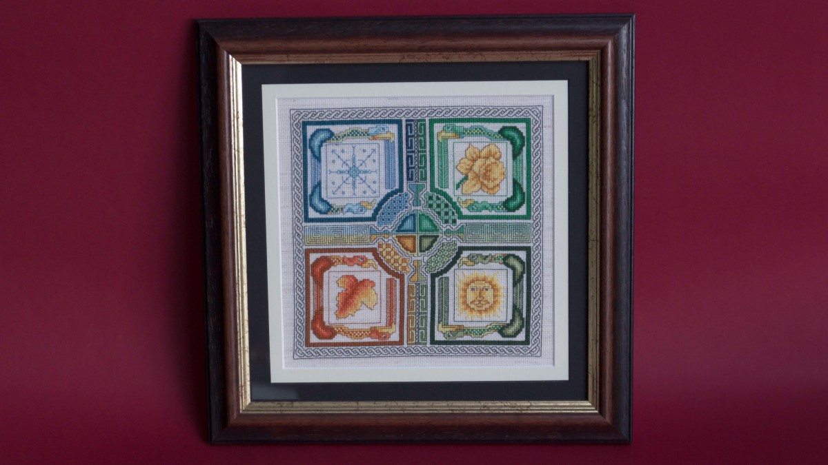 framed cross stitch celtic seasons