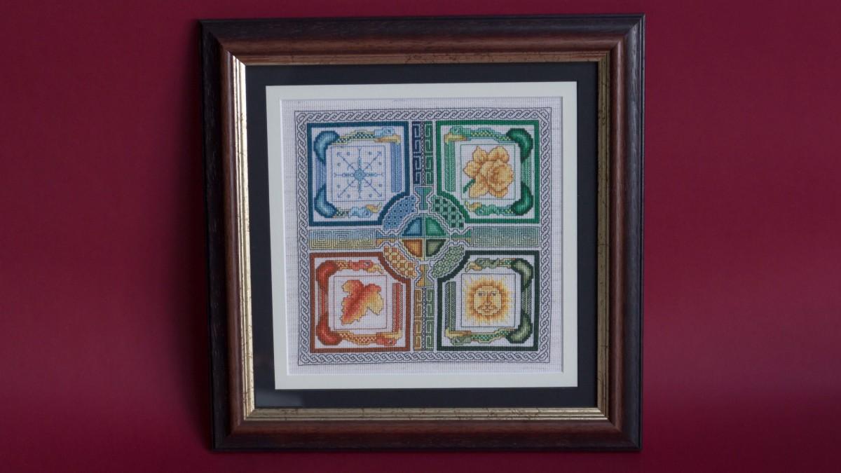 Framed cross stitch - Celtic Seasons