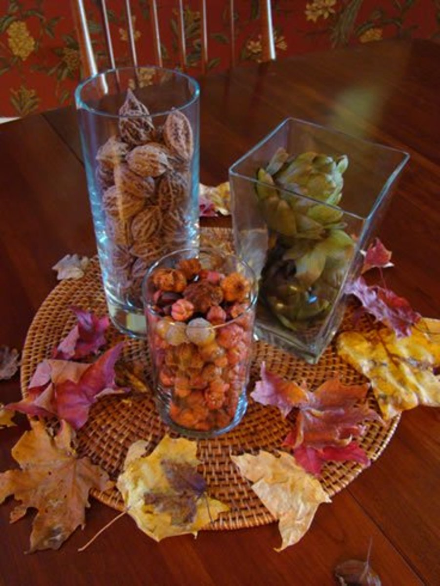 Whole walnuts or walnut shell halves in a vase make a beautiful fall center piece.