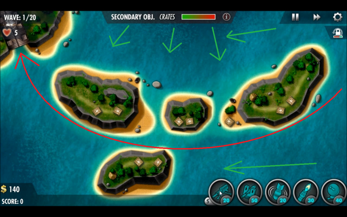 Main wave enemies in Coral Sea drawn out in red with green arrows representing the idea of how the sneak attacks will be approaching.