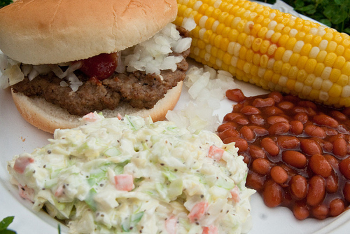 Barbecue with homemade coleslaw