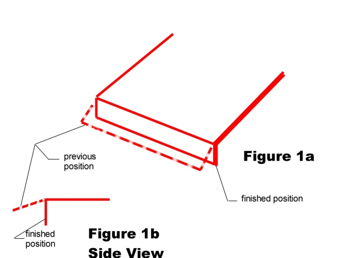 Fig. 1a is an isometric view of a sheet metal part.  Note the dashed lines denote the position the metal is in when it's placed in the die performing the flanging operation.  Fig. 1b is the same part in a side view.