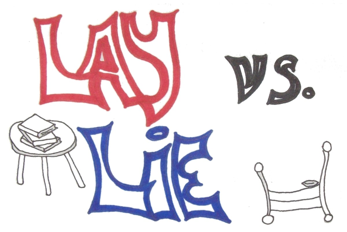 "My sketch of the infamous words, ""Lay vs. Lie."""
