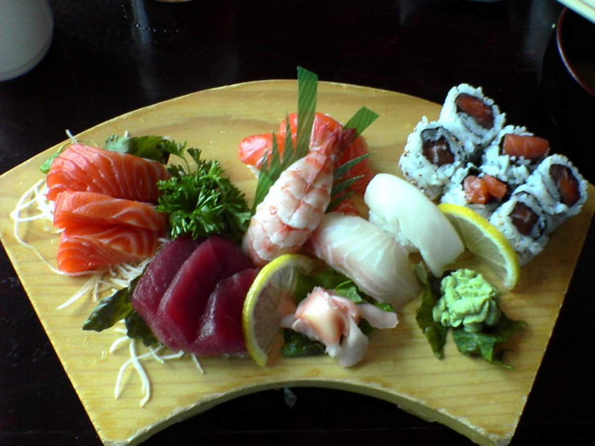 A variety of sushi and sashimi