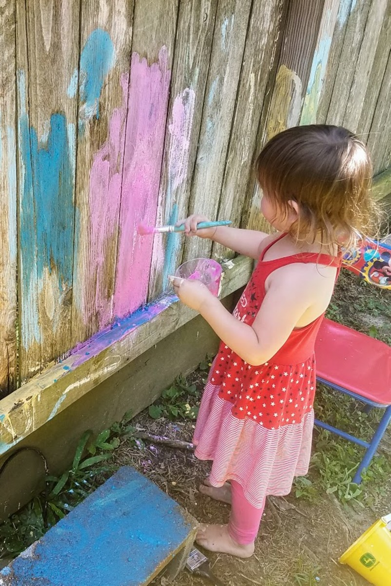 My three-year-old daughter painted our fence with chalk paint.